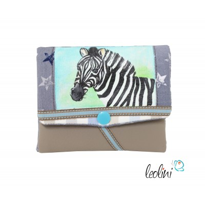 Small Wallet, Purse with zebra painting