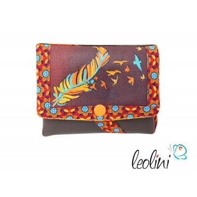Small Wallet, Purse with feathers