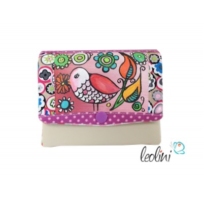 Small Wallet, Purse with  a bird, handcrafted by Leolini