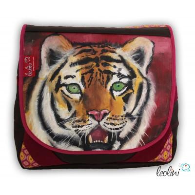 Tasche Umhängetasche mit Tiger Malerei in bordeaux