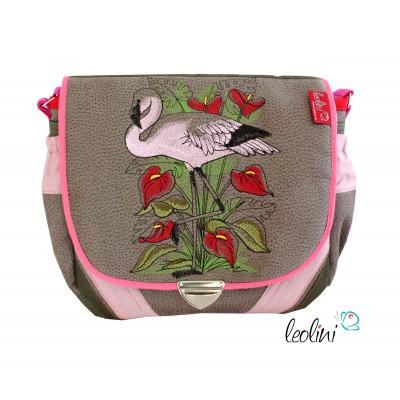 Flamingo Umhängetasche mit Stickerei