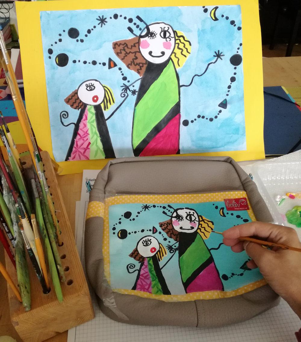 Herstellung Tasche mit Kinderzeichnung