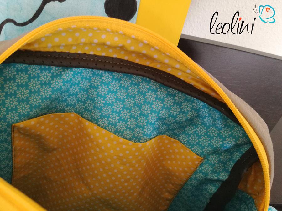Innenansicht der Wunschtasche mit Kinderzeichnung von Leolini