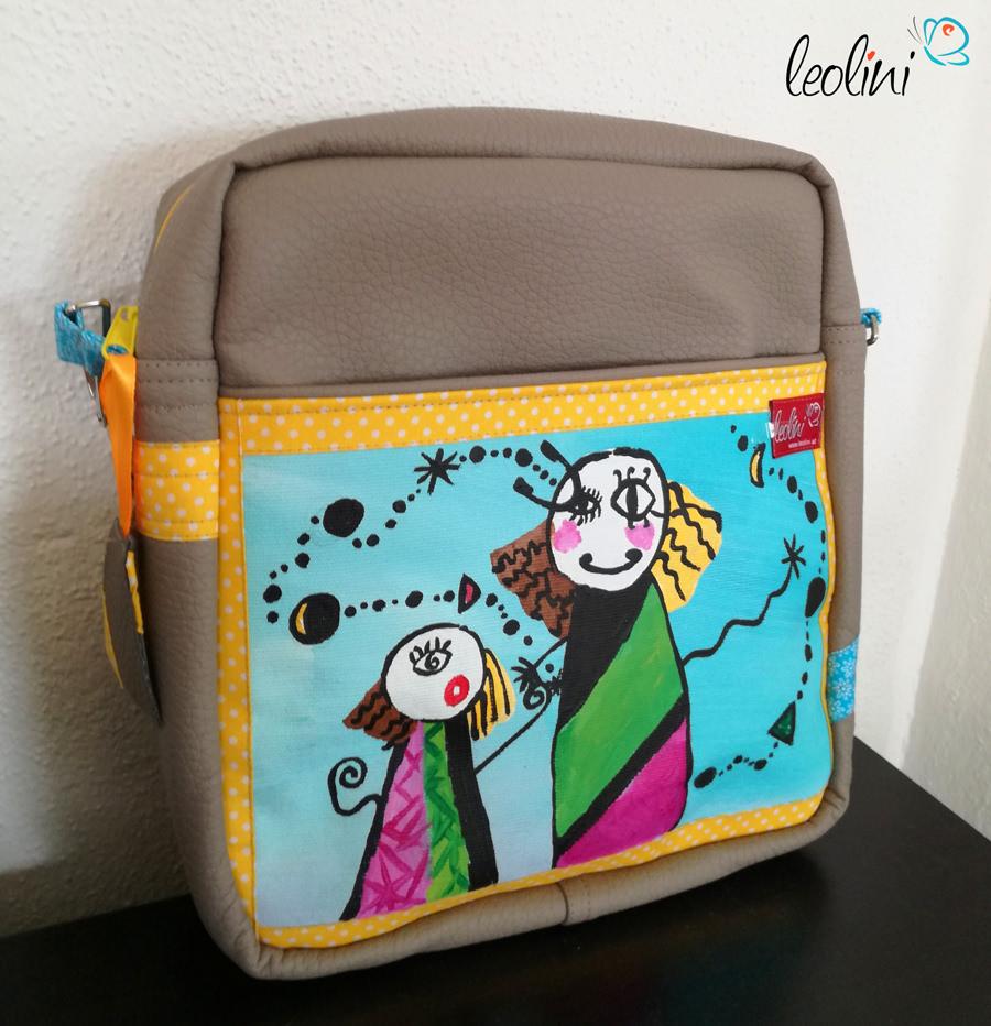 Vorderseite Leolini Wunschtasche mit Kinderzeichnung echte Malerei