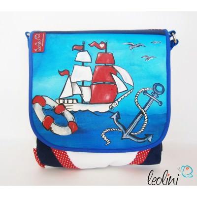 Maritime Tasche, weiß, Segelschiff