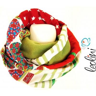 Loop für den Winter, Schlauchschal - Sterne und Herzen, handgefertigt von Leolini