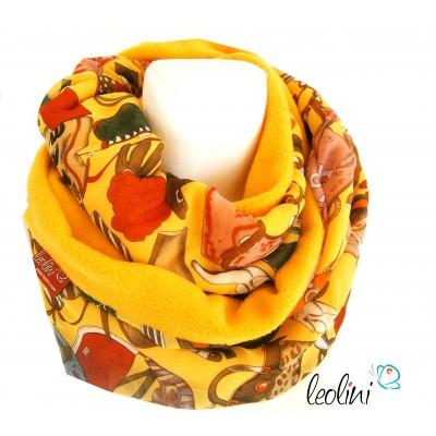 Loop aus Chiffon und Fleece gelb