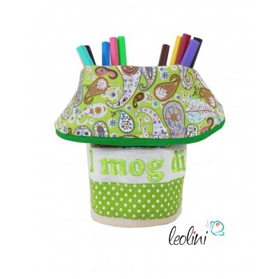 Stiftetasche mit Stickerei I mog di, grün