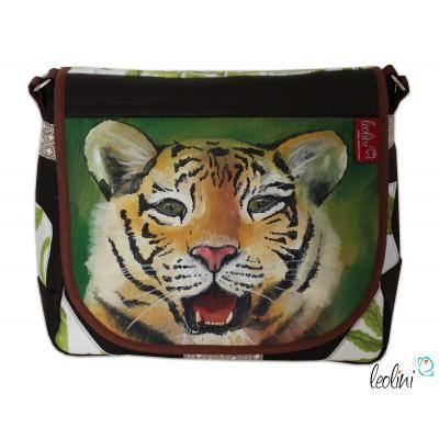 Tasche Umhängetasche mit Tiger Malerei in grün, braun
