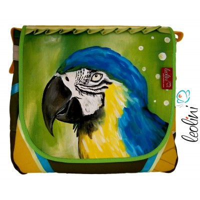 Papagei grün, Handgemachte Unikattasche von Leolini