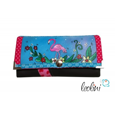 Handmade Portemonnaie - Geldbörse - mit Malerei Flamingo Inga
