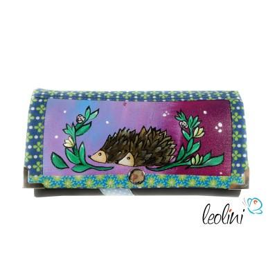 Handmade Portemonnaie - Geldbörse - mit Malerei Igel