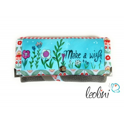 Handmade Portemonnaie - Geldbörse - mit Malerei Make a wish Blumen