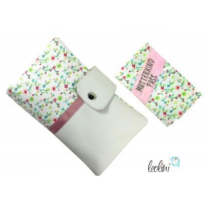 SPARSET süße Mutterkindpasshülle und Windeltasche mit Blümchen und Stickerei