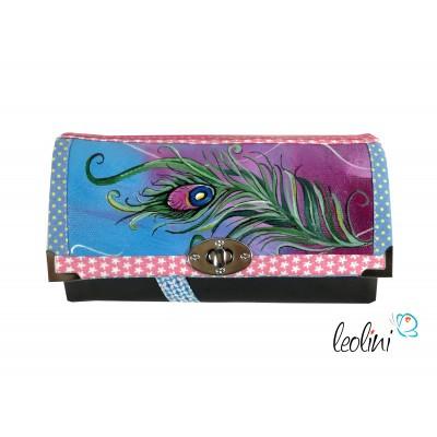 Handmade Portemonnaie - Geldbörse - mit Malerei Pfauenfeder