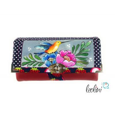 Tolles handmade Portemonnaie mit Kolibri und Blumen