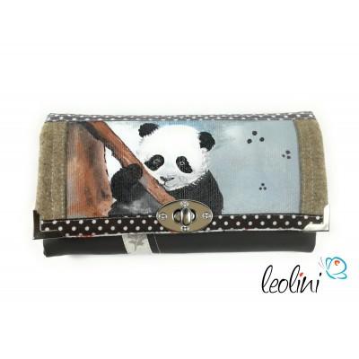 Große Malereigeldbörse Einzelstück mit Panda - Damenportemonnaie