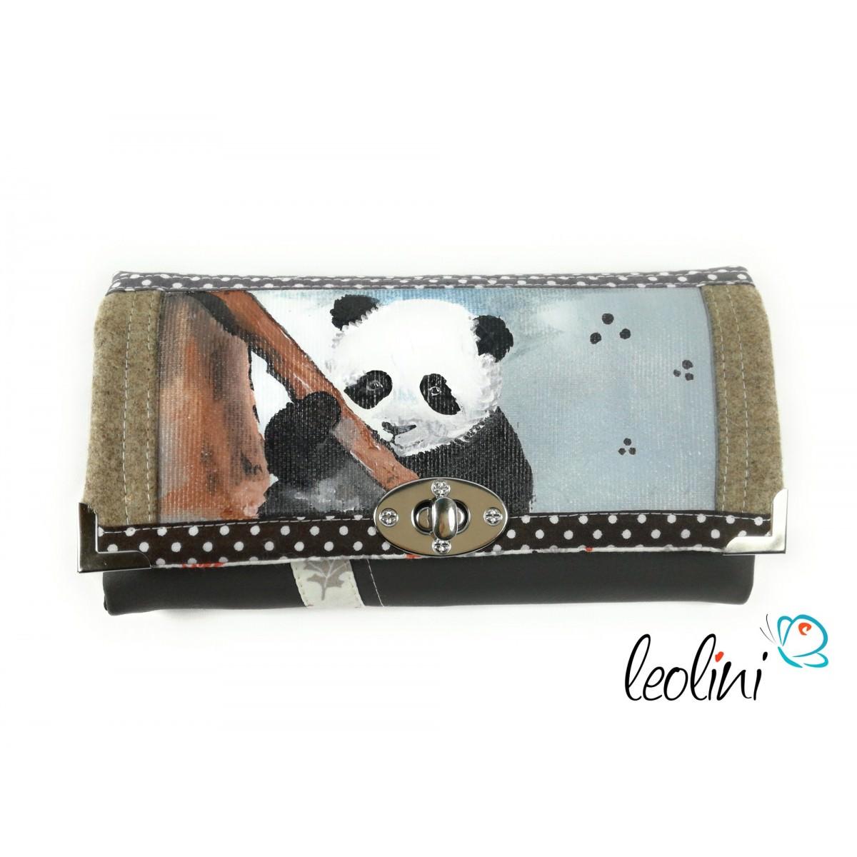 Handmade Portemonnaie - Geldbörse - mit Malerei Panda