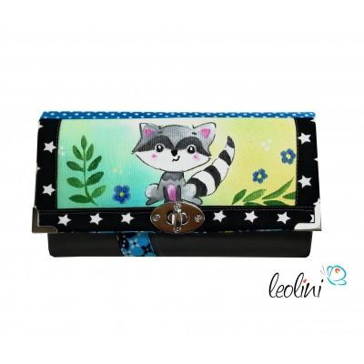 Handmade Portemonnaie - Geldbörse - mit Malerei Waschbär