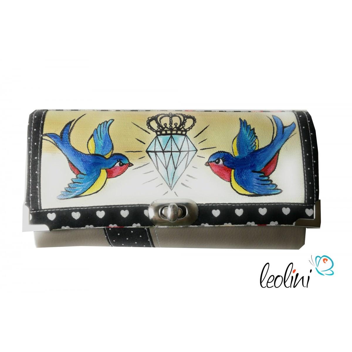 Malerei Portemonnaie - Damengeldbörse mit Schwalben Diamant Krone