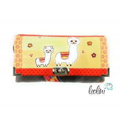 Malerei Portemonnaie - Damengeldbörse mit Alpakas