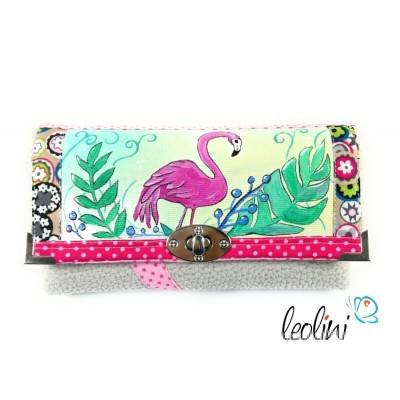 Große Damengeldbörse mit echter Malerei Flamingo. Portemonnaie