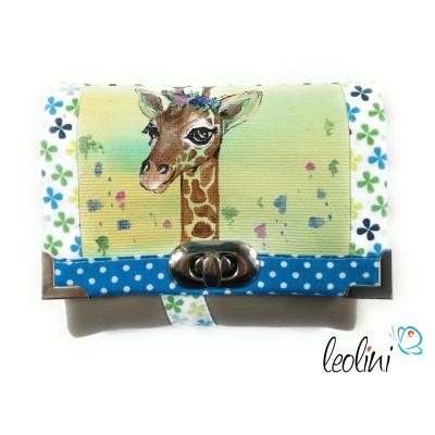 Kleine Geldbörse mit echter Malerei Giraffe - Handmade, kein Druck