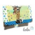 Kleine Geldbörse mit echter Malerei Giraffe - Handarbeit