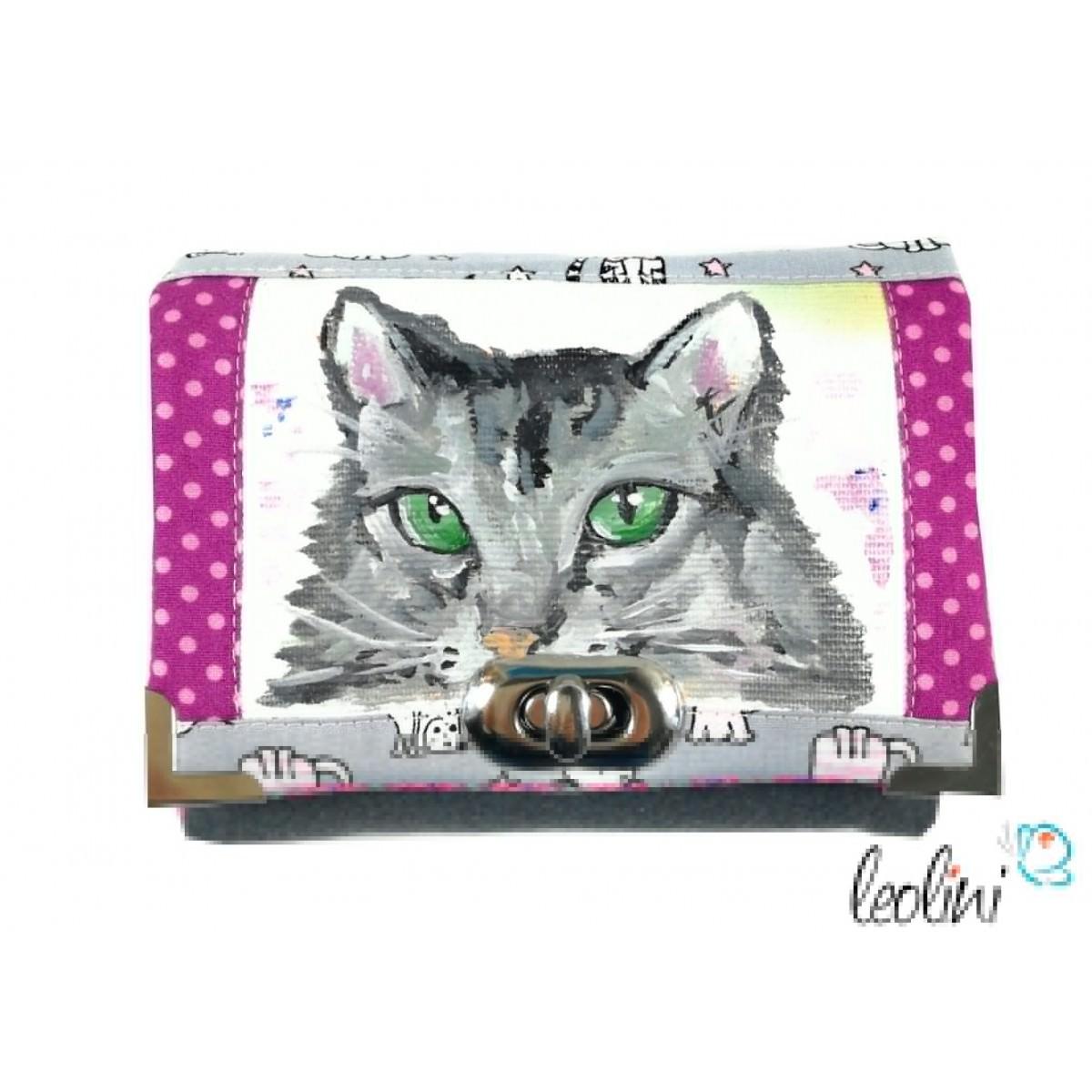 Kleine Geldbörse mit echter Malerei Katze . ein Unikat