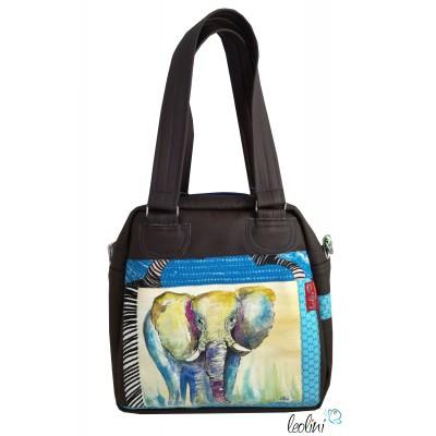 Henkeltasche mit echter Malerei Elefant und Pusteblume, ein Einzelstück
