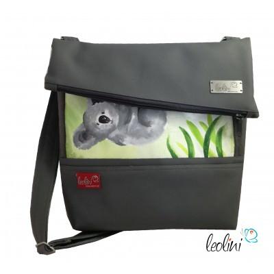 Foldover Tasche mit echter Malerei Koalabär, ein Einzelstück