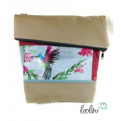 Foldover Tasche mit echter Malerei Kolibri - ein Einzelstück