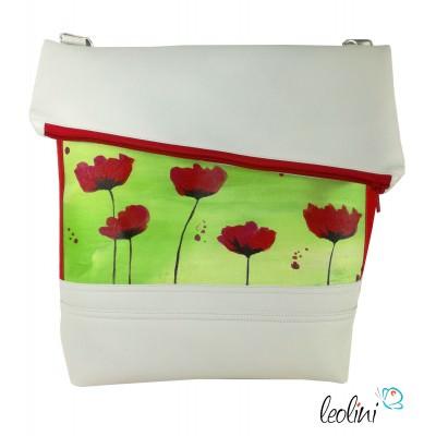 Foldover Tasche mit echter Malerei Mohnblumen - ein Einzelstück