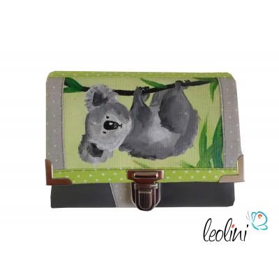 Kleine Geldbörse mit echter Malerei Koalabär - handmade