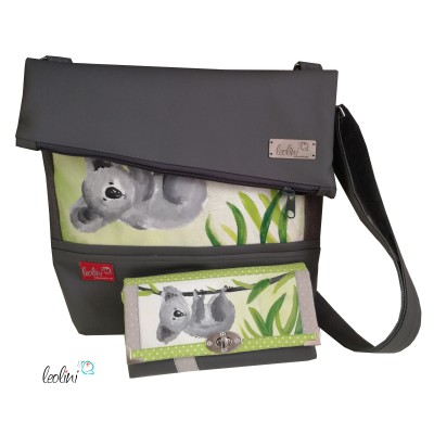Sparset - Foldover Tasche mit echter Malerei Koalabär und große Geldbörse