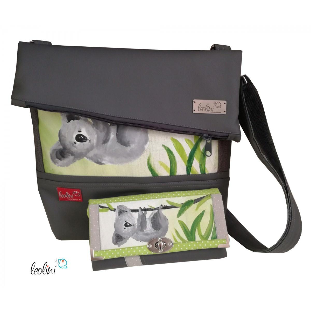 Set Foldover Tasche Koala und große Geldbörse
