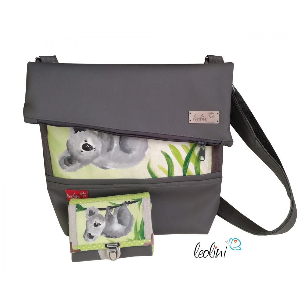 Sparset - Foldover Tasche mit echter Malerei Koalabär und kleine Geldbörse