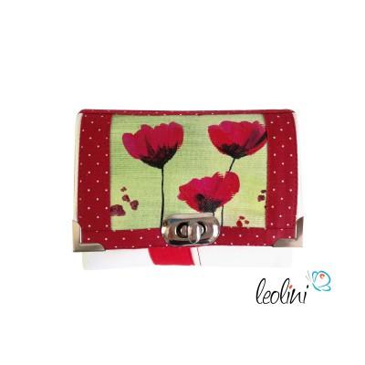 Kleine Geldbörse mit echter Malerei roter Mohn - handmade