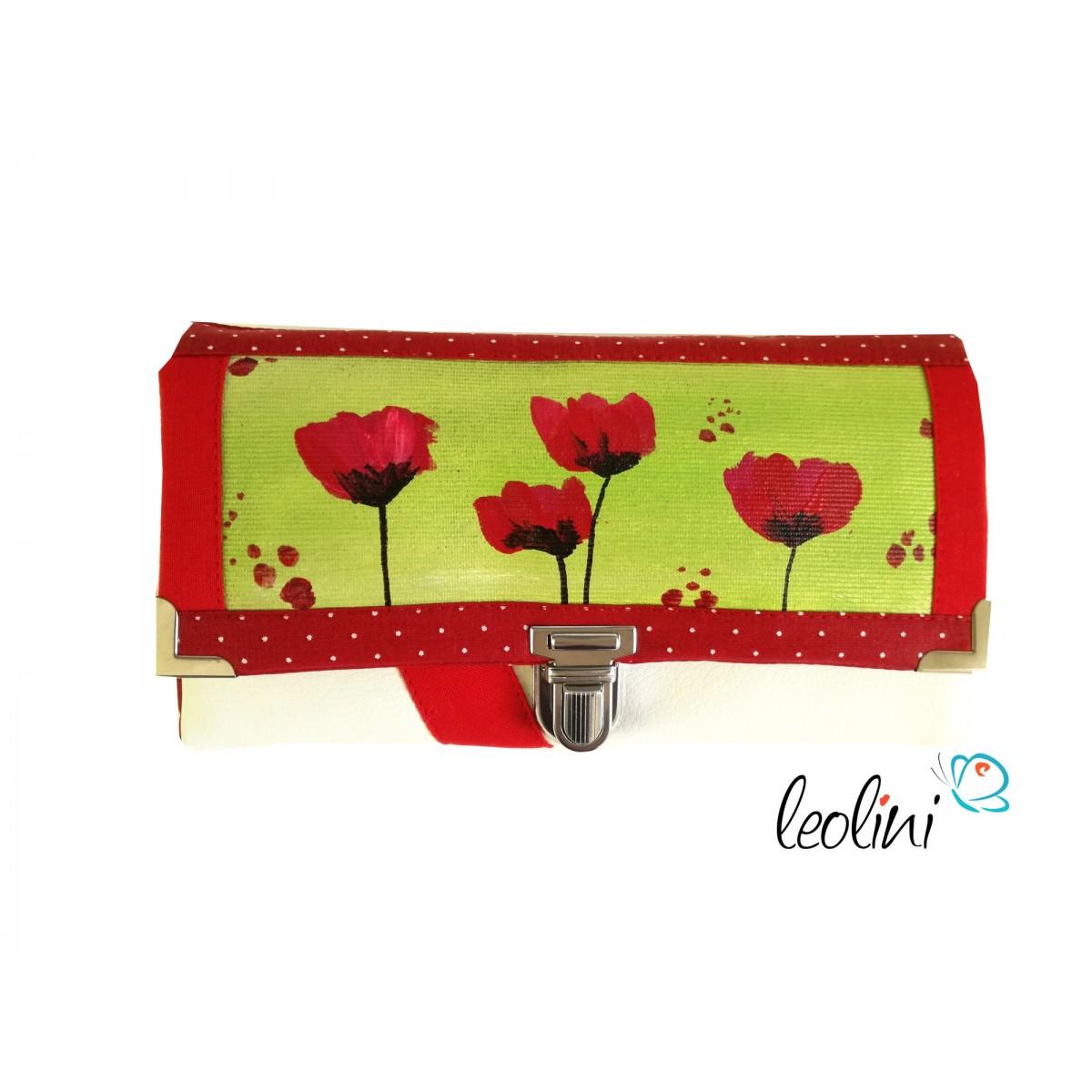 Große Malereigeldbörse - Damengeldbörse mit rotem Mohn - Portemonnaie