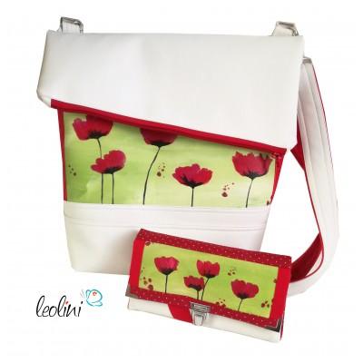 Sparset - Foldover Tasche mit echter Malerei roter Mohn und große Geldbörse