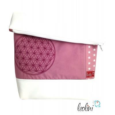 Foldover Tasche Blume des Lebens Stickerei - Lebensblume altrosa