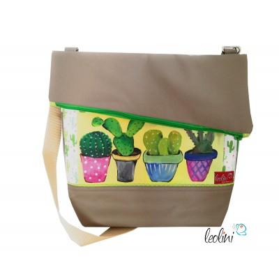 Foldover Tasche mit echter Malerei Kaktus - ein Einzelstück