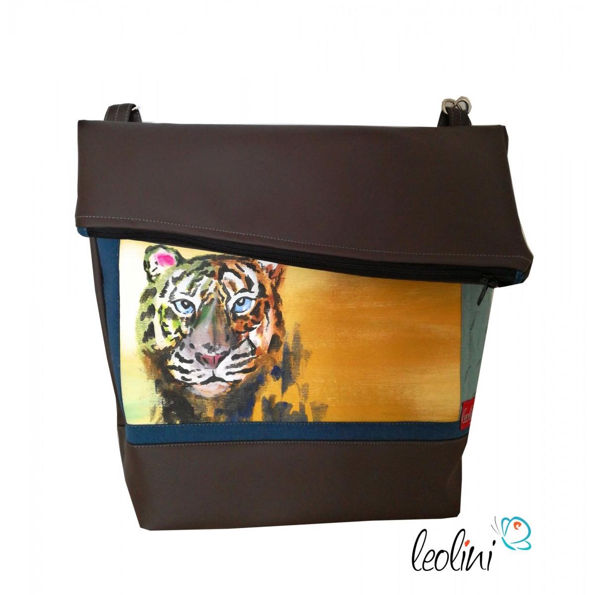 Foldover Tasche mit echter Malerei Tiger - ein Einzelstück