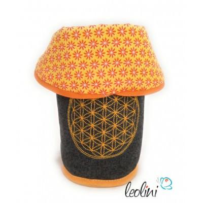 Stiftetasche Schminktasche Blume des Lebens orange Lebensblume
