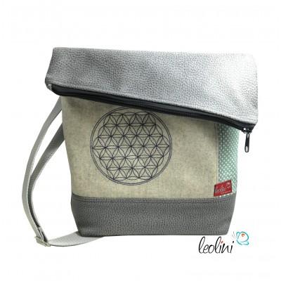 Foldover Tasche Blume des Lebens Stickerei - Lebensblume grau