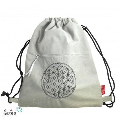 Handmade Sportbeutel Gymbag mit Blume des Lebens Stickerei grau rot