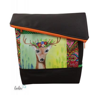 Foldover Tasche mit echter Malerei Hirsch - ein Einzelstück