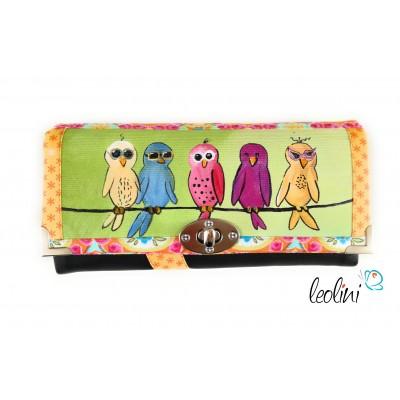 Große Malereigeldbörse - Damengeldbörse mit Fuchs pink - Portemonnaie