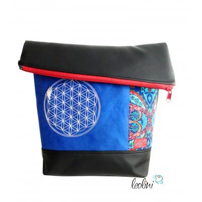 Foldover Tasche Blume des Lebens Stickerei - Lebensblume blau rot