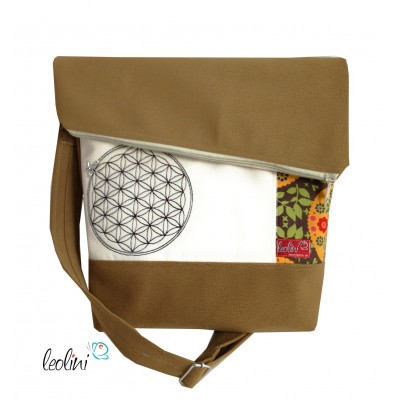 Foldover Tasche Blume des Lebens Stickerei - Lebensblume cognac